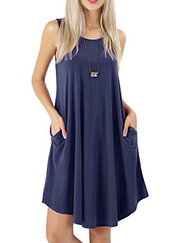 (peassa Women Summer Casual Flowy Plain Short Pockets Tunic Sundress Deep Blue XL)