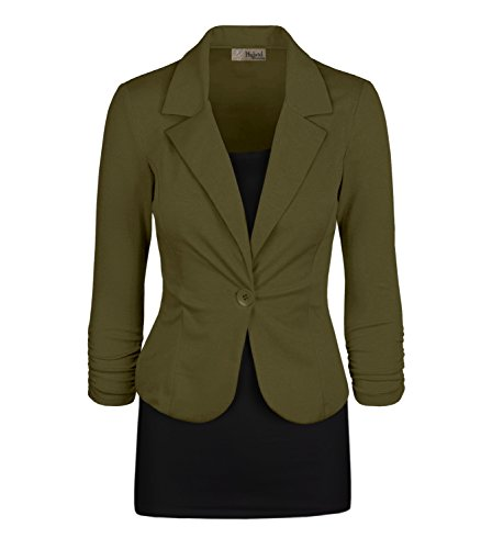 - Women's Casual Work Office Blazer Jacket JK1131 Olive 2X Plus