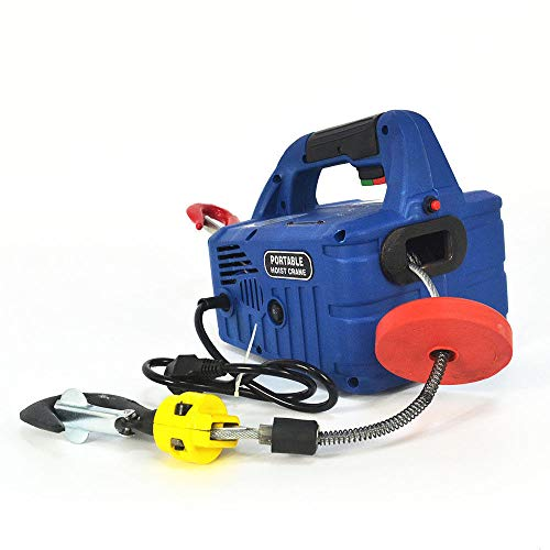 Portable Household Electric Winch Hoists w/Wireless Remote Winch Remote Crane Lift for Industrial Crane Lifting - 1500W - 110V (500KG X 7.6m)