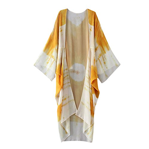 Han Shi Blouse, Women Print Chiffon Loose Shawl Long Kimono Cardigan Cover up Shirt (L, Yellow)