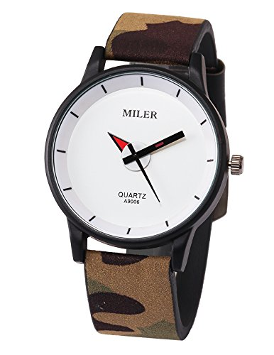 AGENTX Men's Women Camouflage Black Scrub Leather White Dial Sport Wrist Watch White Leather Camo