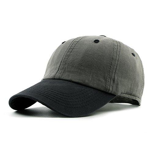 JOOWEN Unisex Cotton Classic Optimum Trucker Baseball Cap Hat (Grey) (Pigment Twill Dyed Solid Cap)