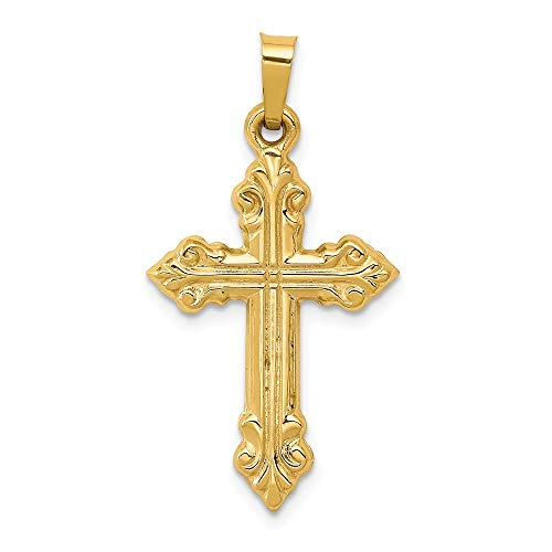 14k Yellow Gold Brushed Budded Cross Religious Pendant Charm Necklace Latin Fine Jewelry Gifts For Women For Her