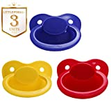 Littleforbig Adult Baby Sized Pacifier Dummy for Adullt Babies ABDL BigShield 3 Paci Pack - DarkBlue Red Yellow