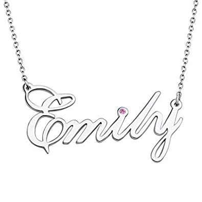 7ec1f2e793262 Custom Name Necklace Personalized Sterling Silver CZ Birthstone Delicate  Pendant Gifts for Women Girls