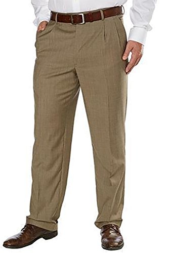 Mens Wool Gabardine Pants (Kirkland Signature Men's Wool Gabardine Pleated Dress Slack Pant, Tan Fancy, Size 38x29)