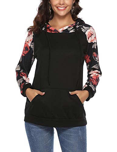 iClosam Women Sweatshirt Casual Cowl Neck Floral Print Long Sleeve Drawstring Tunic Tops (Medium, 3Black)
