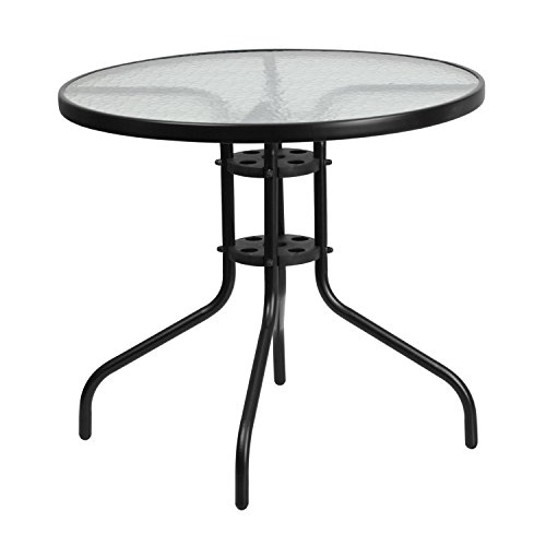 Flash Furniture 31.5'' Round Tempered Glass Metal Table (Bistro Black Glass Table)