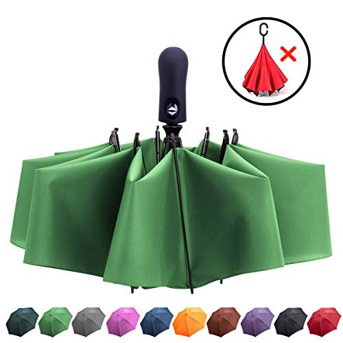 Fidus Inverted Reverse Sun&Rain Car Umbrella Large Windproof Travel UV Umbrella for Women Men - Auto Open Close(F011-GrassGreen-2)