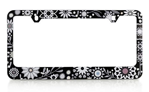 - Baron-Jewelry Pretty License Frame with a Unique Retro Flower Design. Made Plastic and UV Printed for Extreme Durability. (Black and White - W)