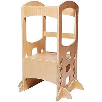 guidecraft contemporary kitchen helper white adjustable height wood tower baking. Black Bedroom Furniture Sets. Home Design Ideas