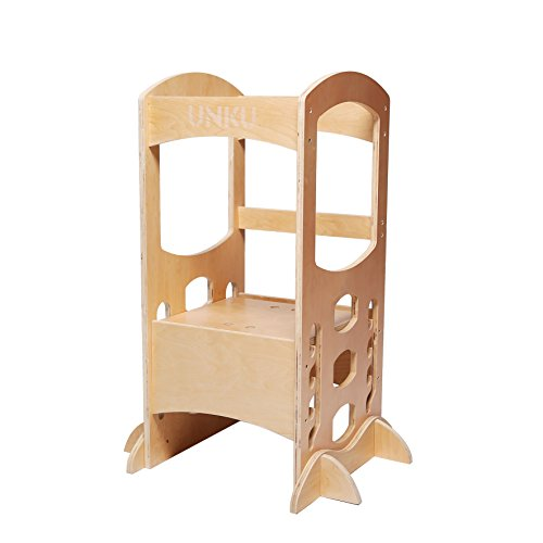 Kitchen Step Stool Little Helper Tower Adjustable Height With Safety Rail (Natural), Perfect for Toddlers by C&AHOME