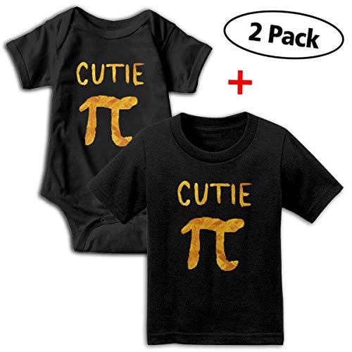 (Gold Cutie Pi Pi Day Gift Math Unisex Baby Short-Sleeve Bodysuit & Baby T-Shirt Set 100% Organic Cotton)
