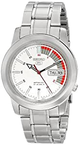 "Seiko Men's SNKK25 ""Seiko 5"" White Dial Stainless Steel Automatic Watch"