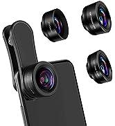 AFAITH Lenti per Cellulare, Obiettivi Smartphone Clip on 3 in 1 Lente Kit 20X Macro+ 198° Fisheye...