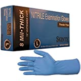 Skintx High Risk Heavy Duty 8 mil Nitrile Gloves, Powder Free Sizes Medium to 2X-Large, (50, Large)