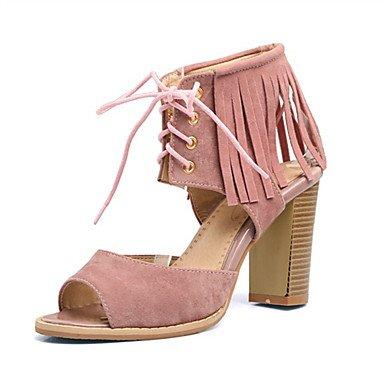 LvYuan Mujer-Tacón Robusto-Otro Innovador Zapatos del club-Sandalias-Boda Vestido Informal-Vellón Materiales Personalizados-Negro Rosa Rojo Beige almond