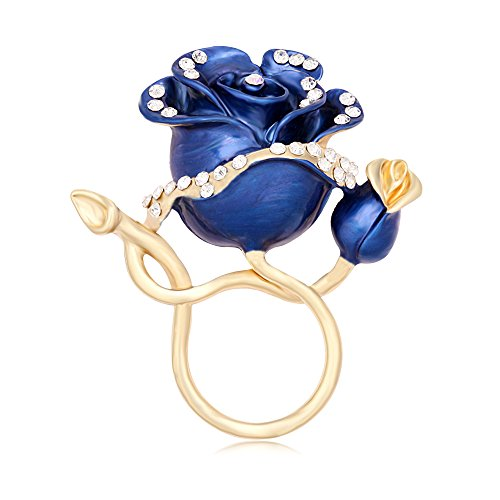 MANZHEN Luxury Gold Plated Enamel Rose Flower Magnetic Eyeglass Holder Clip Brooch Jewelry for Shirt (Blue (Enamel Eyeglass Holder)