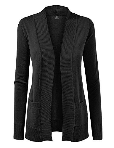 WSK926 Women Open Front Knit Cardigan XL Black