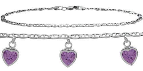 Amethyst Sterling Silver Charm - Genuine Sterling Silver 10 Inch Mariner Anklet with 2.10 Carat Genuine Amethyst Heart Charm