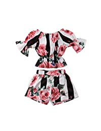 MISOWN Toddler Girl Stripe Off-Shouler Tube Top T-Shirt + Shorts 2Pcs Outfit Clothes