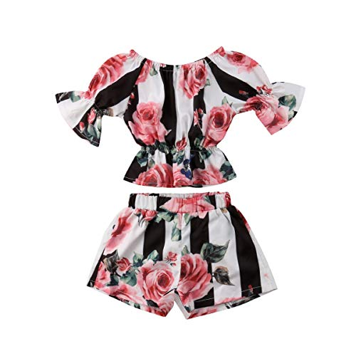 Top Tube Flower - Toddler Girl Stripe Off-Shouler Flower Tube Top T-Shirt + Shorts 2Pcs Outfit Clothes (90)