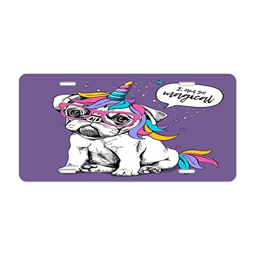 Mugod Dog Aluminum License Plate Puppy Bulldog in a Bright Colored Costume of a Unicorn and I Am So Magical Lettering Quote Decorative Car License Plate Cover with 4 Holes Car Tags 6