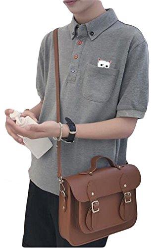 SUNNUY 純色 メンズ ポロシャツ 半袖 猫柄 Tシャツ 無地 カットソー 春夏 ゴルフ 多色 大きいサイズ ボタンダウン 折り襟 重ね着 トップス vネック おしゃれ カジュアル 薄手