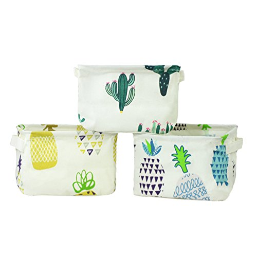 Orino Pineapple Summer Theme Storage Bins Small Size Collapsible Storage Baskets Organizers Home Decor for Cloth, Toys, Books, Sundries, Set of 3