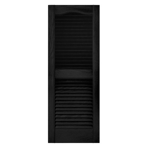 x 80 in. Louvered Shutters Pair #002 Black (Wood Louvered Shutters)