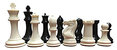 "School, Club, Tournament Chess Set, Black/White - 34 Chess Pieces (2 Extra Queens), 3.75"" Tall King, Instructions on How to Play Chess"