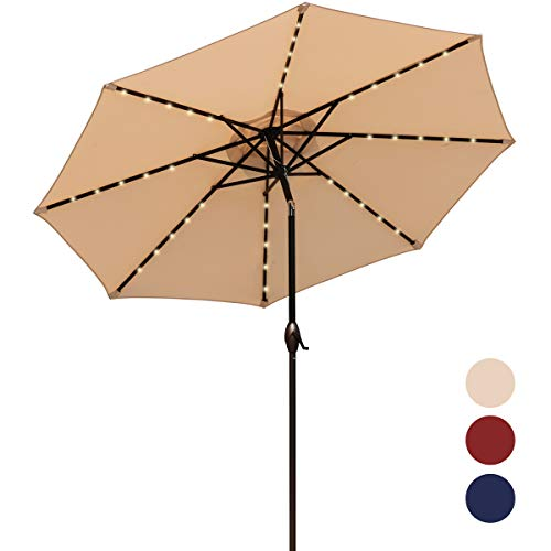 MEWAY 9Ft Patio Umbrella with Solar Lights Outdoor Table LED Lights Umbrella for Night, Beach, Camping, Swimming Pool, Picnic 9Ft, Beige