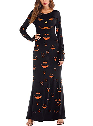 Ninkisann Halloween Costumes,Women's Round Neck Long Sleeve Pumpkins Halloween Party Cosplay Maxi Dresses -