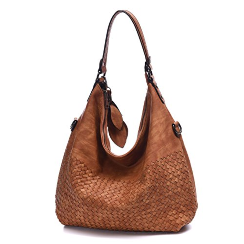DDDH Braided Women's Classical Hobo Bag Leather Purses Handbags Shoulder Tote Bag Crossbody Handbag(Brown) by DDDH