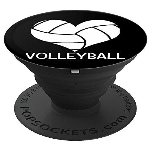 I Love Volleyball Heart PopSockets Grip Stand for Phones and Tablets