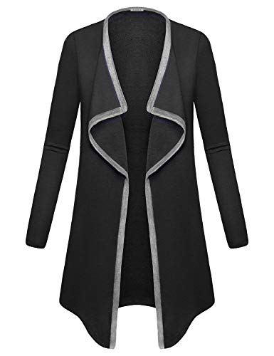 Vintage Classic Cardigan (Baikea Trench Coats for Women, Ladies Notch V Neck Open Front Cardigan Long Sleeve Loose Vintage Style Elegant Tops Lovely Cape Kimono Summer Classic Clothes Black XL)