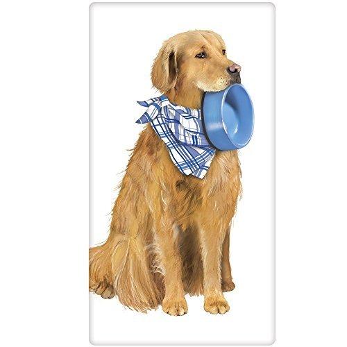 Mary Lake-Thompson Golden Retriever Dog with Bowl Flour Sack Dish Towel