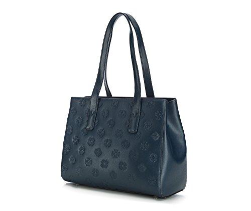 WITTCHEN Borsa elegante, Blu Marino - Dimensione: 26x35cm - Materiale: Pelle di grano -Accomoda A4: Si - 85-4E-432-7