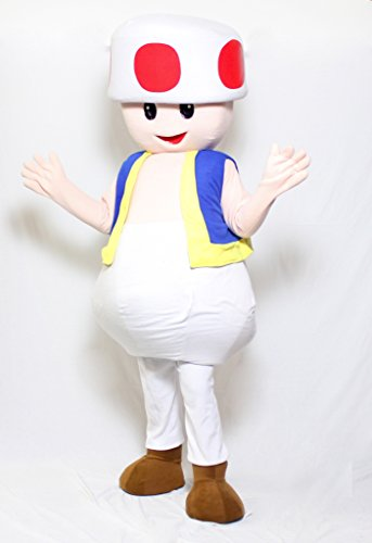 [TOAD MUSHROOM SUPER MARIO BROS MASCOT ADULT COSTUME VIDEO GAME HALLOWEEN COSPLAY] (Mario Bros Toad Halloween Costumes)