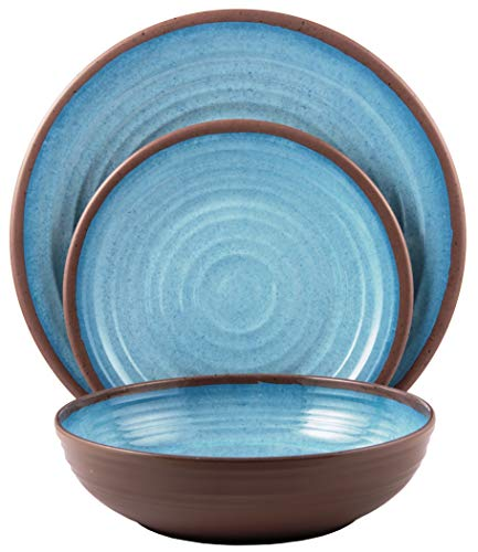Melange 18-Piece Melamine Dinnerware Set (Clay Collection) | Shatter-Proof and Chip-Resistant Melamine Plates and Bowls | Color: Light Blue | Dinner Plate, Salad Plate & Soup Bowl (6 Each)
