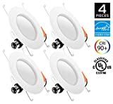 Hyperikon 5/6 Inch LED Downlight, ENERGY STAR, 14W (75W Replacement), 3000K (Soft White Glow) CRI90+, Retrofit LED Recessed Lighting Fixture, LED Ceiling Light, Dimmable (4 Pack)