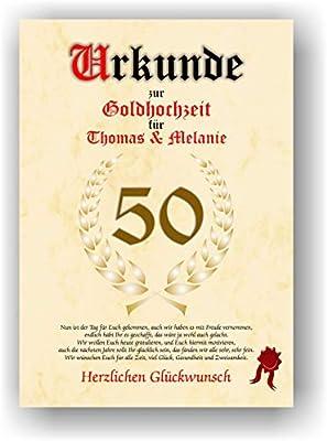Certificado para 50º aniversario - Bodas de Oro - Escrituras Bodas ...