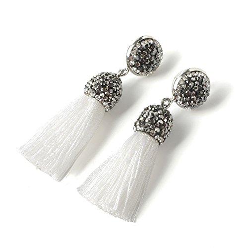 Women's Dangle Drop Short Tassel Earrings with Shell Pearl Black Rhinestone -
