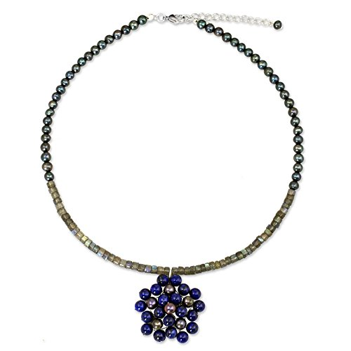 (NOVICA Multi-Gem Dyed Cultured Freshwater Pearl Silver Plated Beaded Necklace 'Blue Garden')