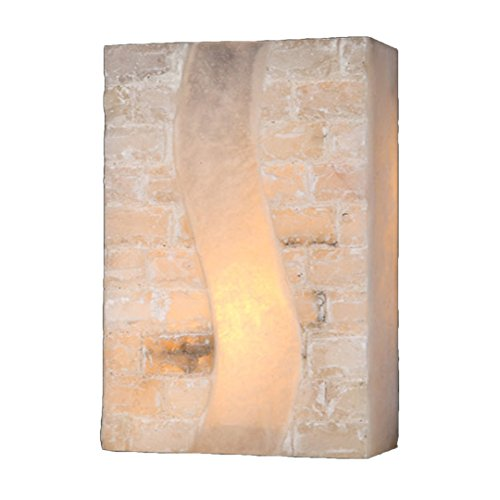(Worldwide Lighting Pompeii Collection 1 Light Flemish Brass Finish Natural Quartz Stone Wall Sconce 8
