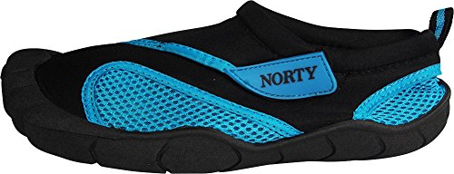 Norty - Womens Skeletoe Close Aqua Water Shoe, Black, Turquoise 39393-8B(M)US