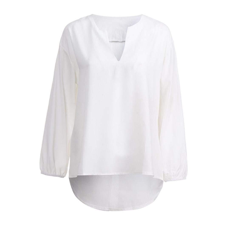 915be8b764 ... Tops Blusa Cuello V Camiseta. Belasdla Mujer Elegante Camisa De Manga  Larga TamañO Grande Ropa De Mujer Suelto Color SóLido Escote