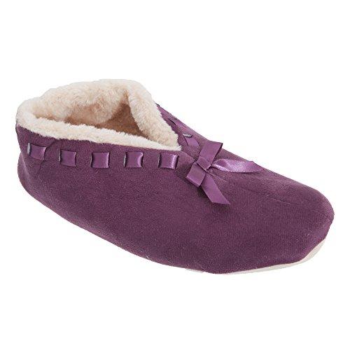 Zapatillas de estar por casa con detalle de lazo para mujer Púrpura