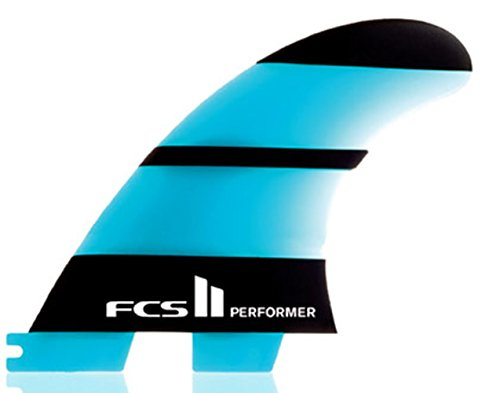 New Fcs Surf Ii Performer Neo Glass Large Tri Fin Set Glass Blue