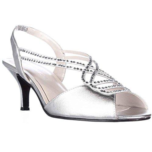 Caparros Womens Philomena Open Toe Bridal Slingback, Silver Metallic, Size 5.0